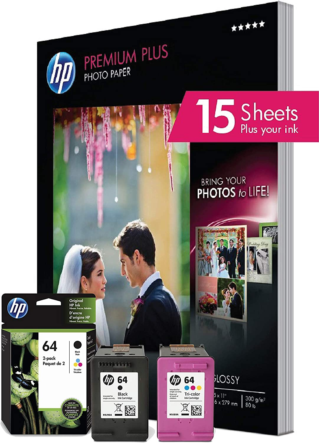 HP 64 | 2 Ink Cartridges with 15 Sheets of 8.5x11 Photo Paper | Black, Tri-Color | N9J90AN, N9J89AN