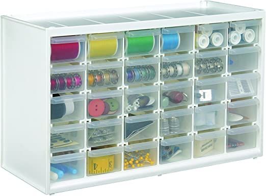 White B Clear Art and Craft Storage Container Box Plastic 15 Slots Adjustable Jewelry Storage Box Case Craft Organizer Bead Super Satchel Double Deep with Removable Dividers