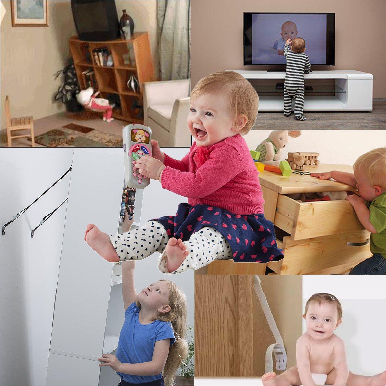 Bebé Seguridad TV y Mueble Anti-tip Metal Correas Kit - Todas Plano ...