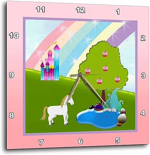3dRose 3D Rose Unicorn, Cupcake Tree, Little Pond, Rainbow, and Castle-Wall Clock, 15-inch DPP_223538_3