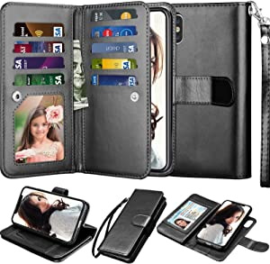"NJJEX Wallet Case for iPhone Xs Max, for iPhone Xs MAX Case, PU Leather [9 Card Slots] ID Credit Folio Flip [Detachable][Kickstand] Magnetic Phone Cover & Lanyard for iPhone Xs Max 6.5"" 2018 [Black]"