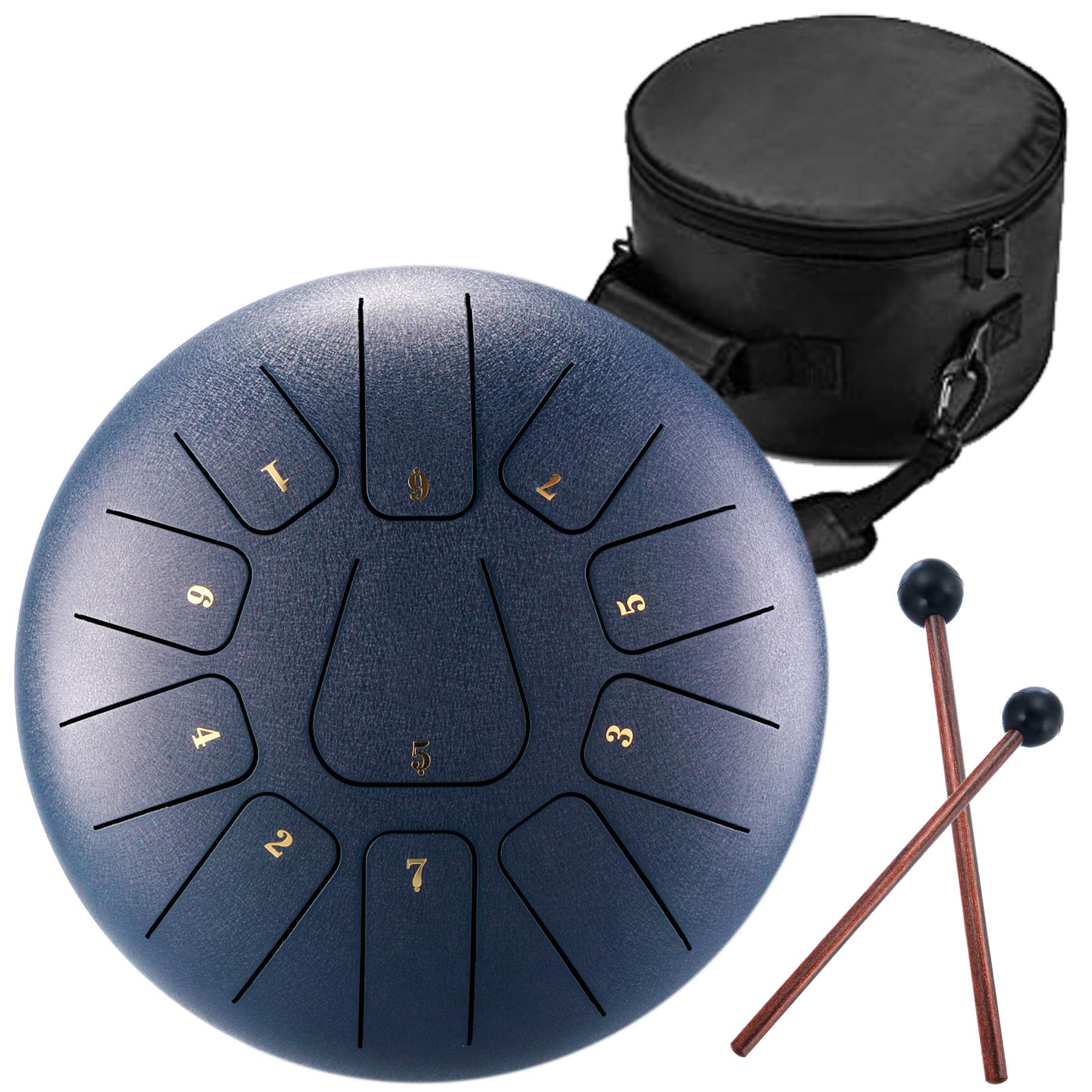 Handpan Tongue Drum 11 Notes 12 Inches Chakra Tank Drum Steel Percussion Hang Drum Instrument with Padded Travel Bag and Mallets Cyan