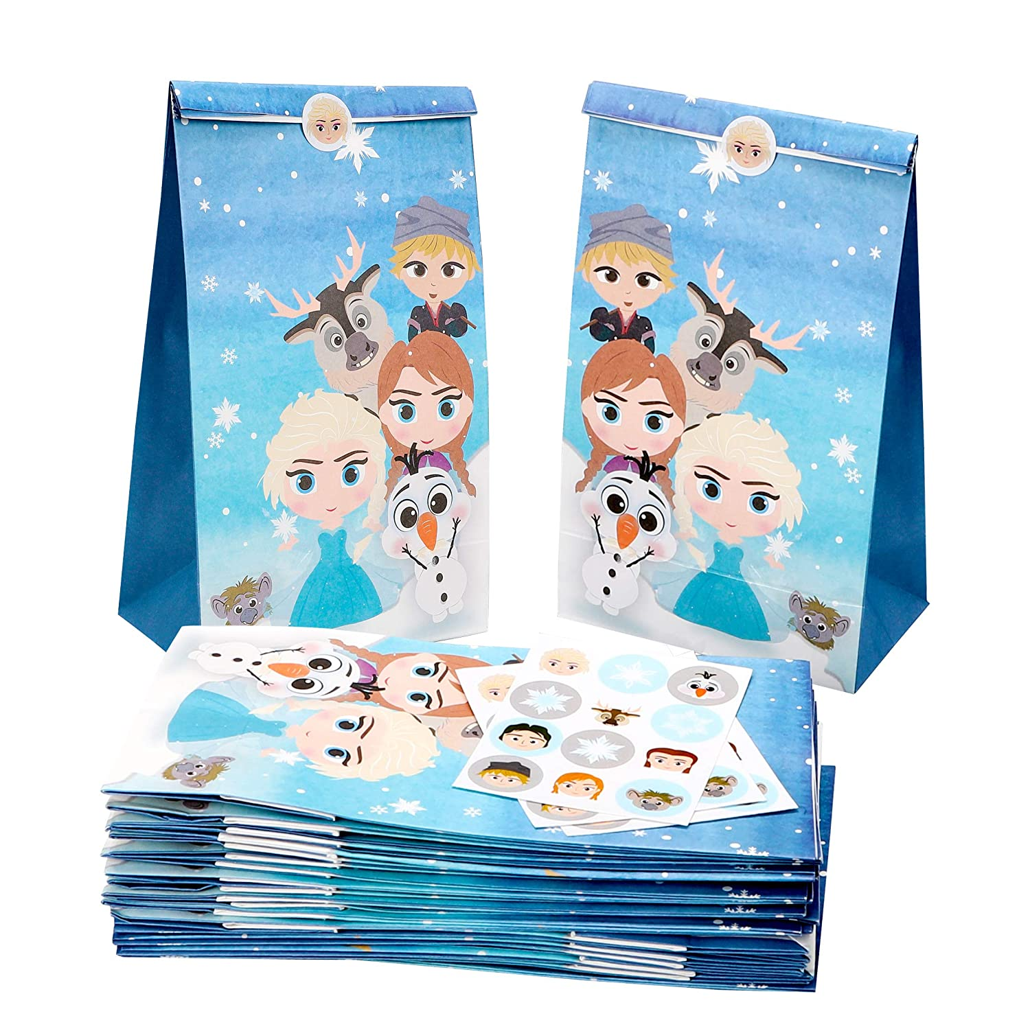 MALLMALL6 24Pcs Frozen Candy Treat Bags Princess Theme Birthday Party Supplies Winter Snow Queen Goodie Party Favor Bags Elsa Anna Baby Shower Dessert Bags with Princess Snowflake Stickers for Kids