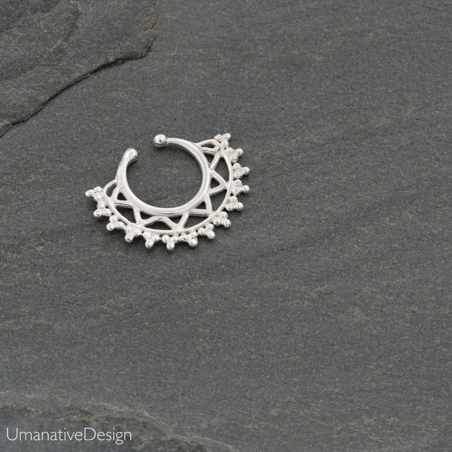 Handmade Piercing Jewelry Fake Septum Nose Ring Sterling Silver Indian Tribal Faux Clip On Non-Pierced Septum Cuff
