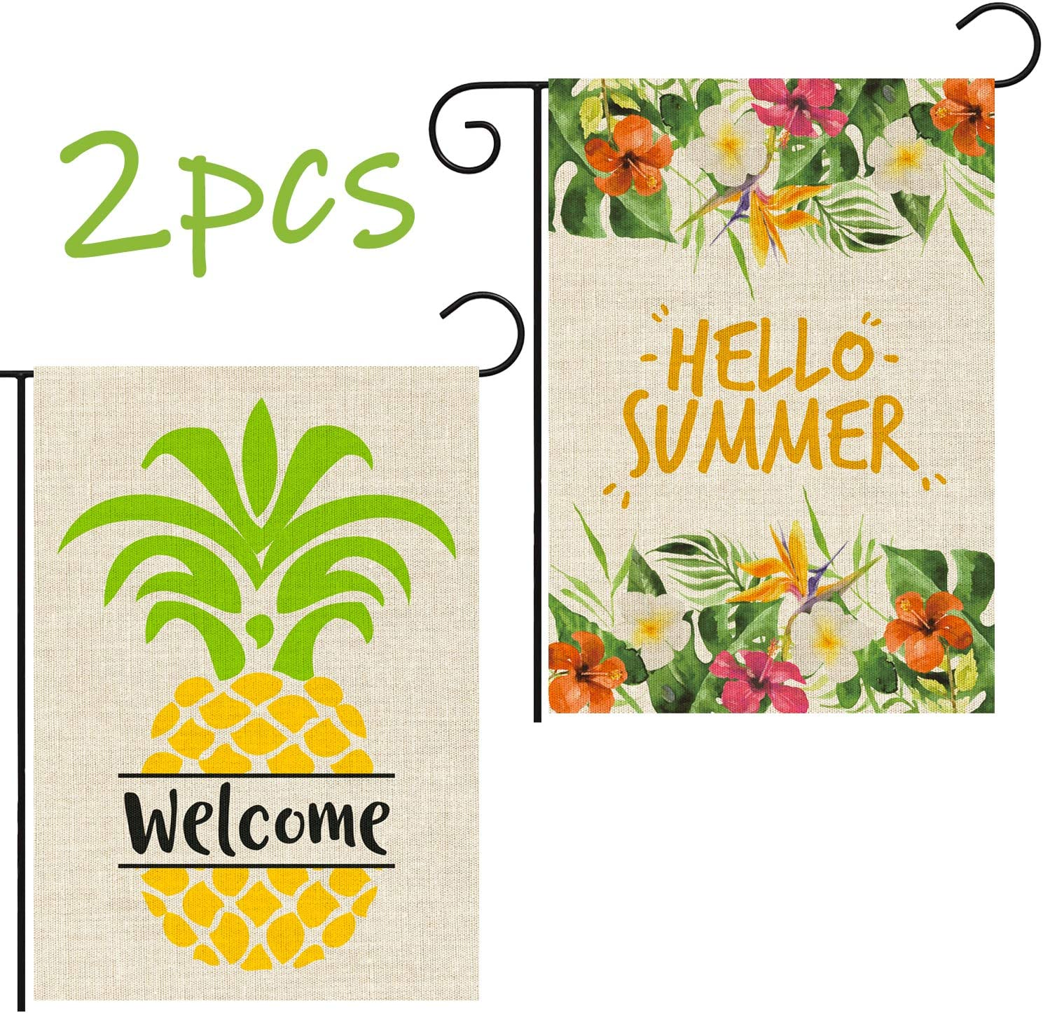 GROBRO7 2Pcs Burlap Garden Flag Summer Welcome Double Sided with Colorful Flower Pineapple Fruit Yard Flags Decorative for Outdoor Party(12x18 Inch)