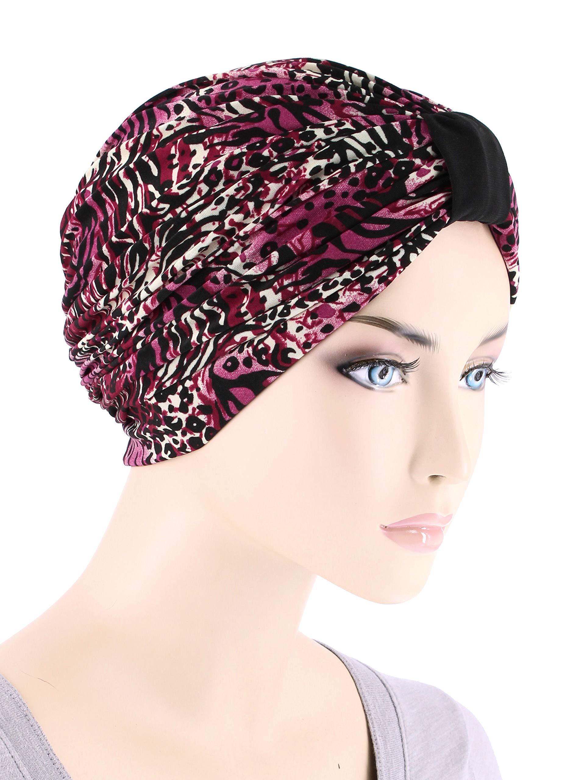 Elegant Print Turbans Soft Stretchy Pleated Chemo Cap for Women with Cancer in Animal Wild Berry