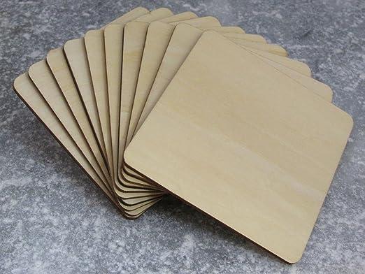 5 opinioni per Sottobicchieri quadrati in legno, formine in legno, grandi, quadrati, 10 cm, 100