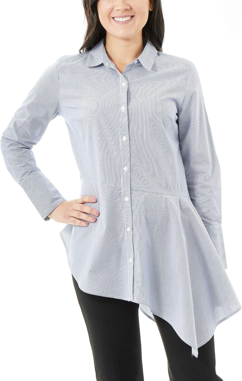 NY Collection Asymmetrical Hem Button Down Shirt, Size S