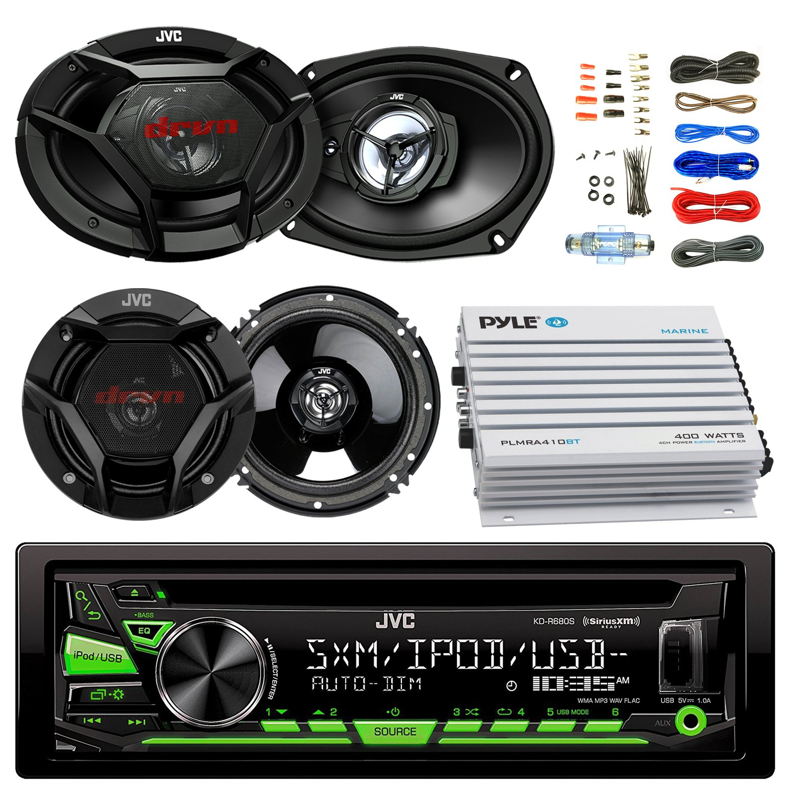 JVC KDR680S Car CD Player Receiver USB AUX Radio - Bundle Combo With 2x JVC 6x9'' 3-Way Vehicle Coaxial Speakers + 2x 6.5'' Inch 2-Way Audio Speakers + 4-Channel Amplifier + Amp Kit
