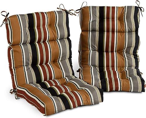 South Pine Porch AM6809S2-BRICK Brick Stripe Outdoor High Back Chair Cushion, Set of 2