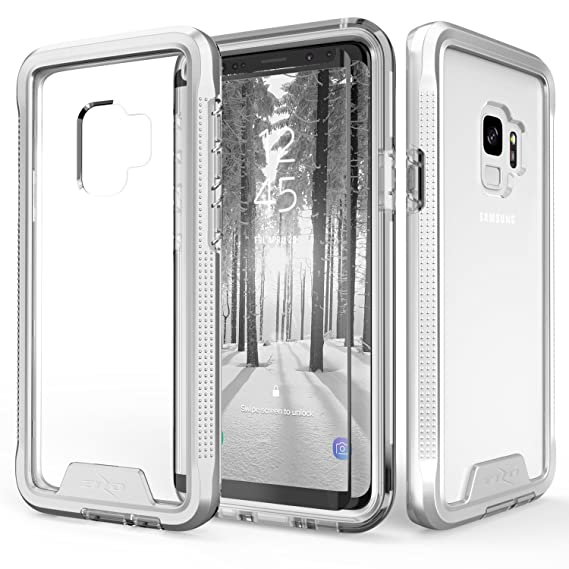 cheap for discount ca536 6e577 Zizo ION Series Compatible with Samsung Galaxy S9 Case Military Grade Drop  Tested with Tempered Glass Screen Protector Silver Clear