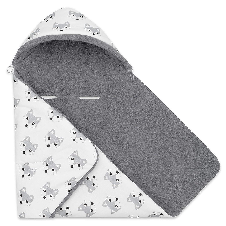 Maxi Cosi Grau - Hund Ideal als Babyh/örnchen Kuscheldecke Kinderwagedecke universal z.B Warme Baby Decke f/ür Autositz und Kinderwagen mit F/üllung EliMeli EINSCHLAGDECKE f/ür Babyschale