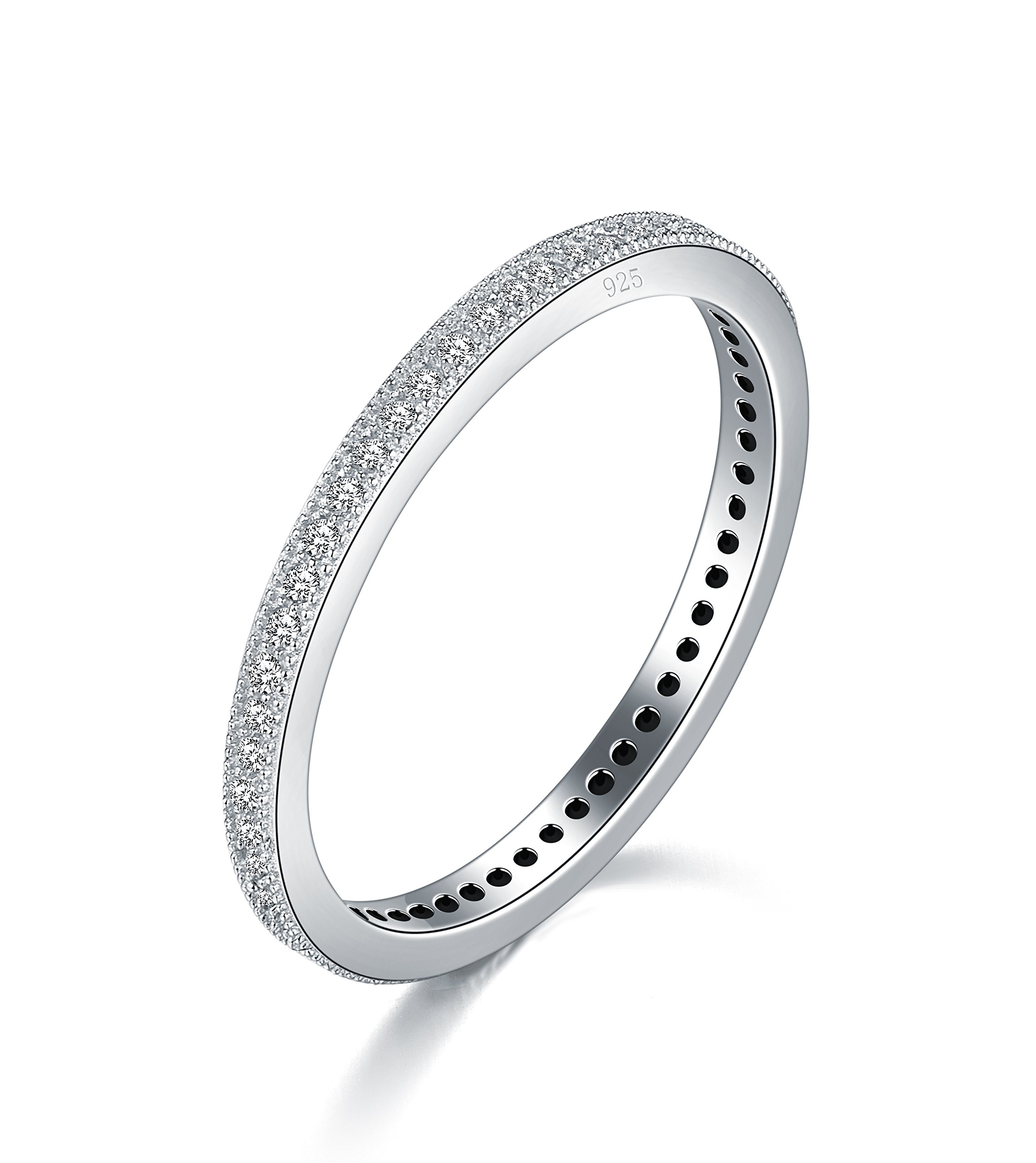 BORUO 2MM 925 Sterling Silver Ring Cubic Zirconia CZ Eternity Wedding Band Stackable Ring Size 4-12