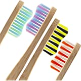 Bamboo Toothbrush [Family Pack of 4] - Eco Friendly Wooden Toothbrushes Set by MYPURECORE |100% Biodegradable | Plastic and BPA Free | Medium Soft Bristles | Perfect for the Whole Family | FREE E-BOOK