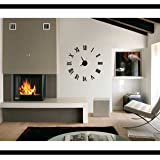 Time It Designer Self Adhesive Innovative DIY (Do It Yourself) Roman Analog Wall Clock - (Black) - CLWC107