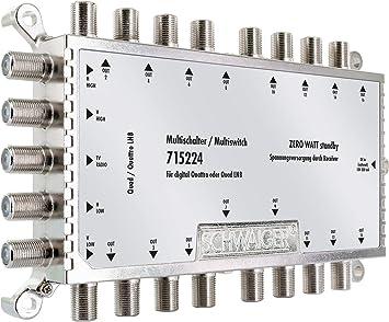 SCHWAIGER -5224- Multiswitch 5 > 16 | Distribuye 1 señal SAT a 16 participantes | divisor SAT con unidad de alimentación | en combinación con un ...