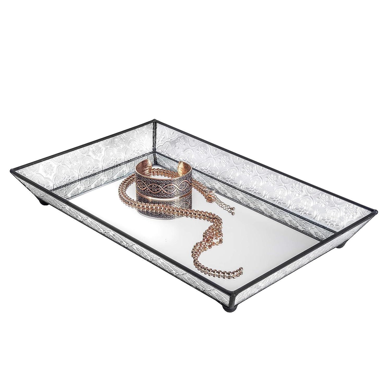 J Devlin Tra 106-1 Vintage Glass Jewelry Tray with Mirrored Bottom Vanity Organizer
