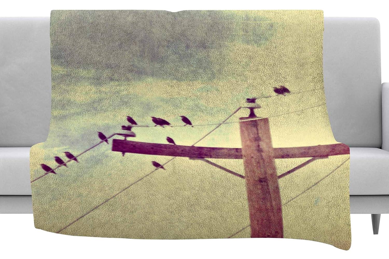 Kess InHouse Sylvia Coomes Vintage Birds On A Wire 2 Yellow Digital Throw 40 x 30 Fleece Blanket
