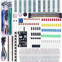 ELEGOO Upgraded Electronics Fun Kit w/Power Supply Module, Jumper Wire, Precision Potentiometer, 830 tie-points Breadboard for Arduino UNO R3, MEGA 2560, Raspberry Pi, STM32, Datesheet Available