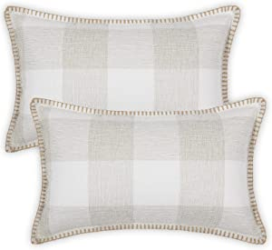 decorUhome Set of 2 Buffalo Check Plaid Throw Pillow Covers Farmhouse Lumbar Decorative Cushion Case Trimmed Edge Square Pillowcase for Home Decor Bed Sofa 12x20 Inch, Cream and White