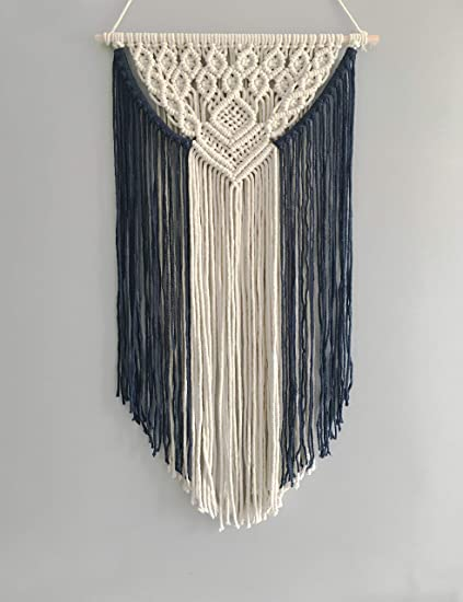 c3d49e945ad2b Image Unavailable. Image not available for. Color  Youngeast Handmade Boho Navy  Blue Macrame Wall Hanging