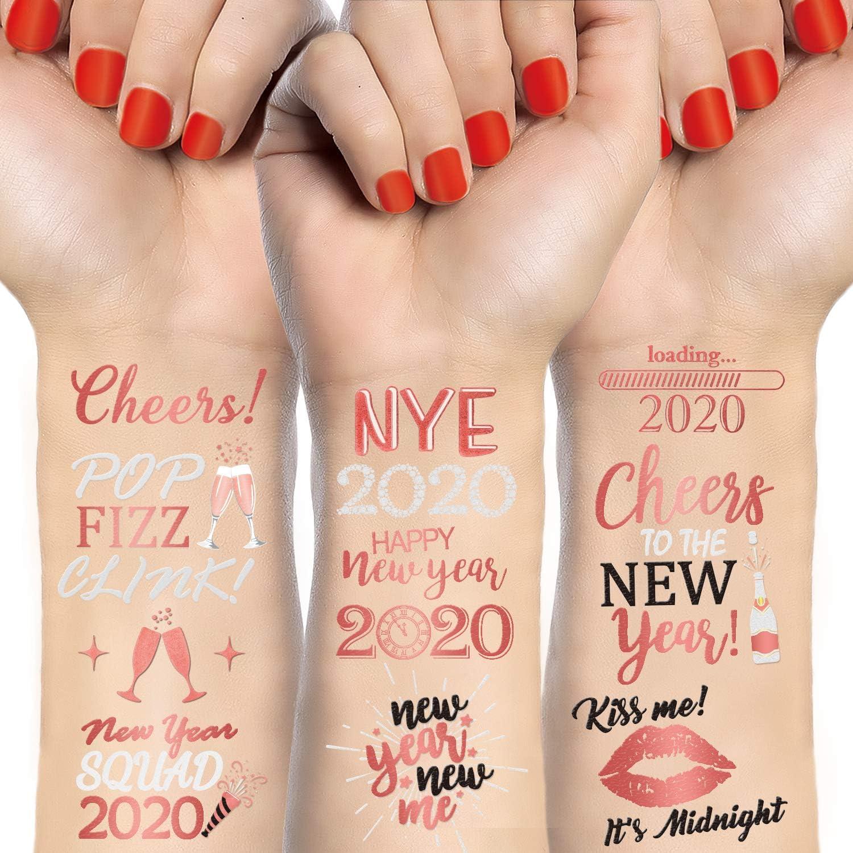 Qpout Oro rosa Tatuajes temporales para fiesta de 2020 año nuevo, fiesta de fin de año, etiqueta engomada de tatuajes impermeables, decoraciones de regalo de fiesta de feliz año nuevo, 3 hojas