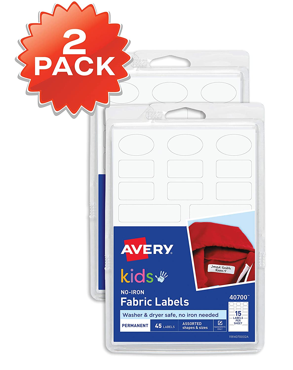 40700 Washer /& Dryer Safe 90 Labels Assorted Shapes /& Sizes, Avery No-Iron Kids Clothing Labels 2-Pack