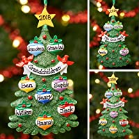 Personalised Family Christmas Xmas Tree Bauble Decoration Ornament | Green Tree Family | Groups 3,4,5,6 & 7
