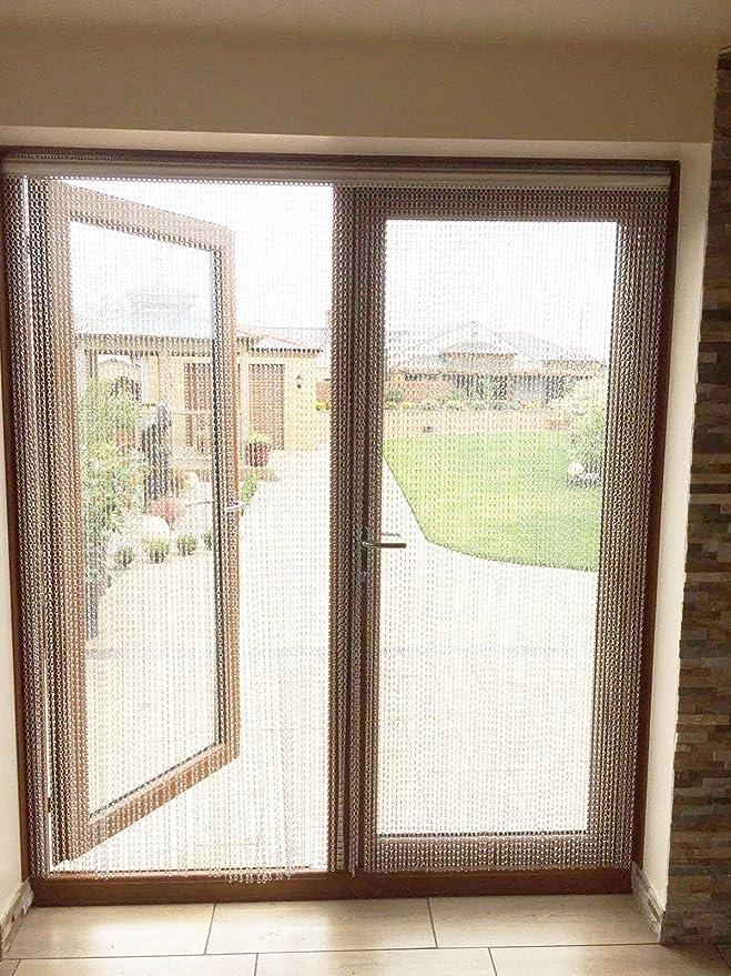 Cortina enrollable de cadena de aluminio, 90 x 210 cm, para control de plagas, para puerta, ventana, decoración del hogar: Amazon.es: Hogar