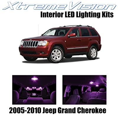 Xtremevision Interior LED for Jeep Grand Cherokee 2005-2010 (9 Pieces) Pink Interior LED Kit + Installation Tool: Automotive