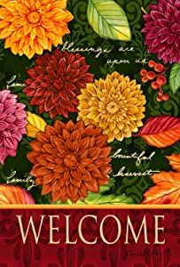 Toland Home Garden Welcome Mums 28 x 40 Inch Decorative Colorful Fall Autumn Flower House Flag