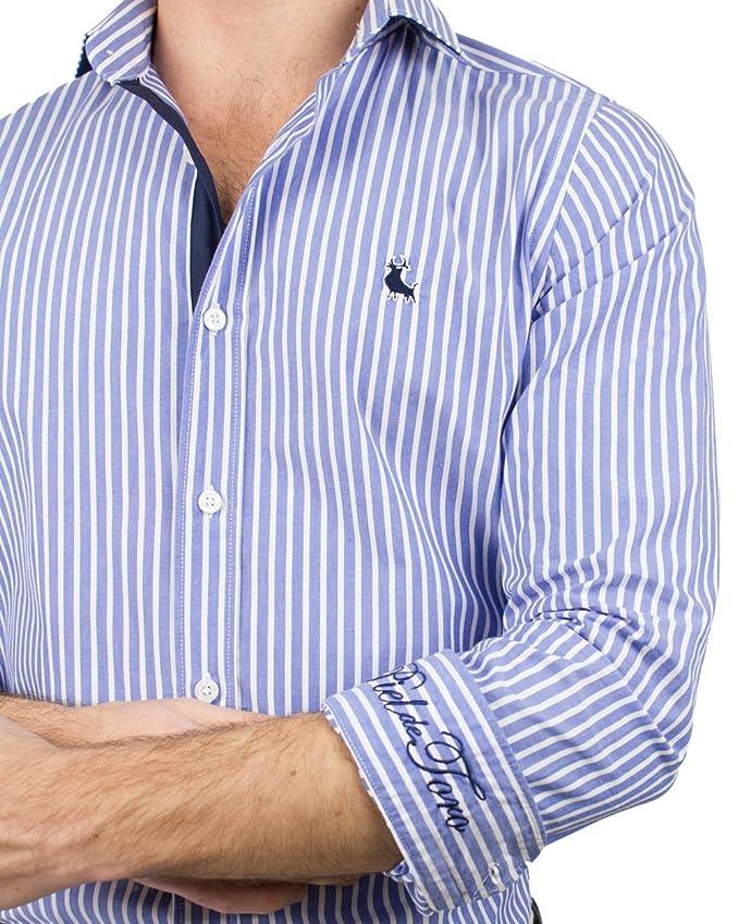 Piel de Toro BÁSICA Rayas Verticales Camisa Casual, Azul (Celeste ...