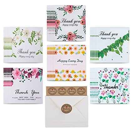 amazon com thank you cards 36 floral thank you notes cardstock