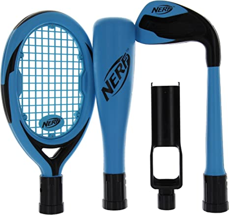 Nerf Sports Pack for Nintendo Wii, Tennis Racquet. Golf Club & Baseball Bat (Blue) by Performance Design: Amazon.es: Videojuegos