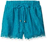 My Michelle Girls' Big Crochet Lace Soft Shorts with Drawstring and Fringe Hem, Teal, Small