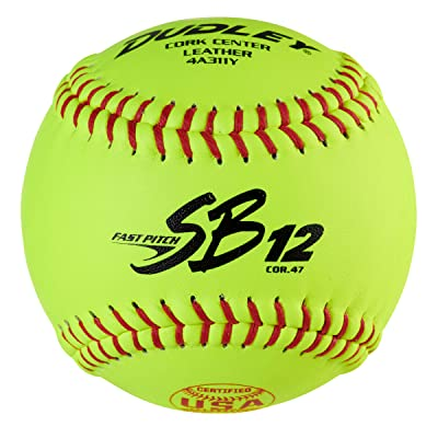 "New 12"" Dudley Spalding WHITE LEATHER SOFTBALLS Cork Core 12 Balls Per Case"