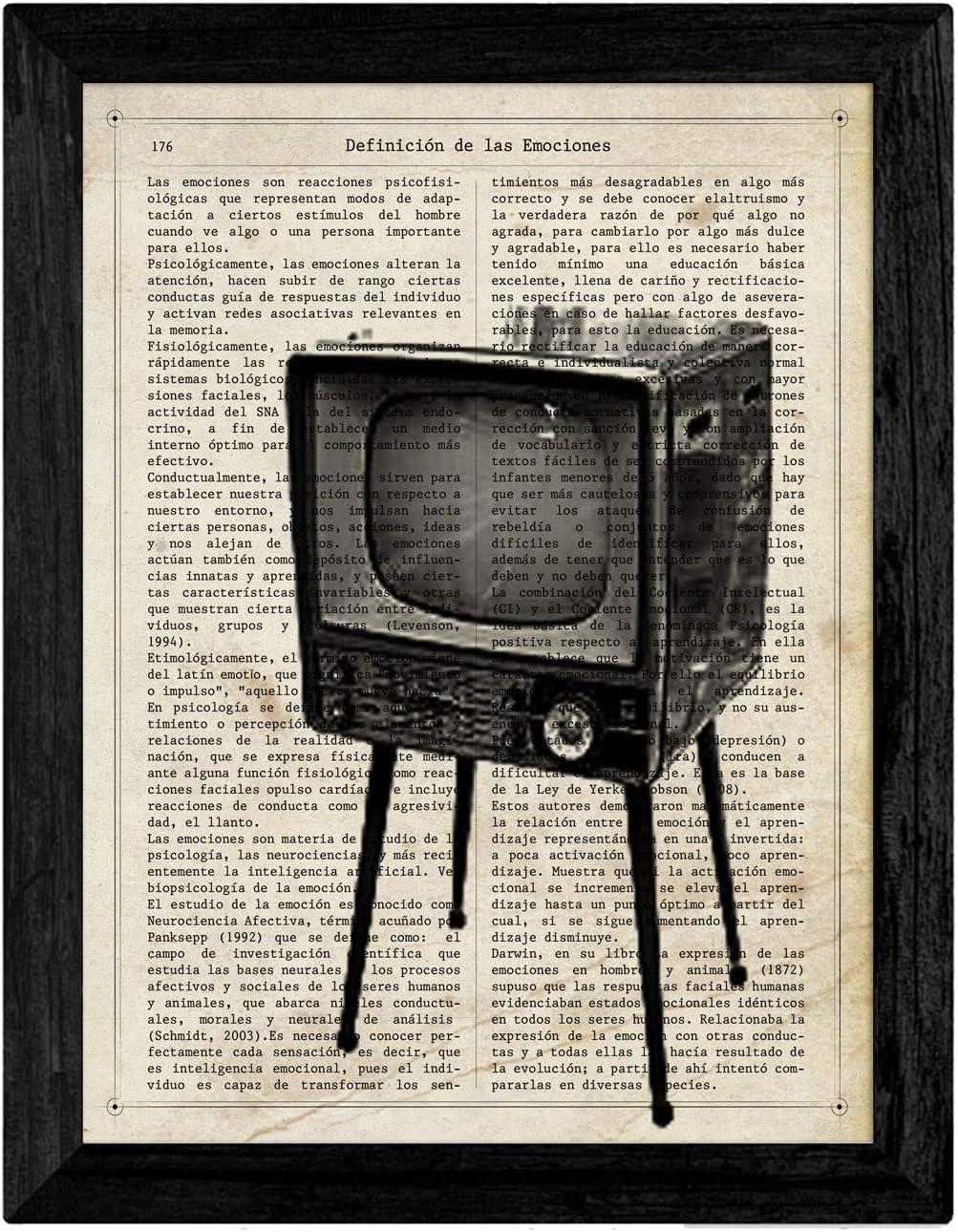 Pack de Cuatro láminas Vintage Camara de Fotos, máquina de Escribir, telefono y televisión con definiciones fotografía, emociones, Amistad y comunicacion Tamaño A4 - Sin Marco. 250 Gr: Amazon.es: Hogar