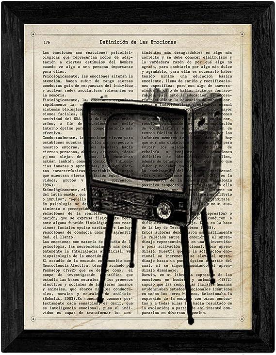 Pack de Cuatro láminas Vintage Camara de Fotos, máquina de Escribir, telefono y televisión con definiciones fotografía, emociones, Amistad y comunicacion Tamaño A4 - con Marco Negro A4.: Amazon.es: Hogar