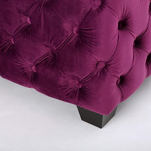 Provence Modern Glam Button Tufted Velvet Ottoman, Fuchsia and Dark Brown
