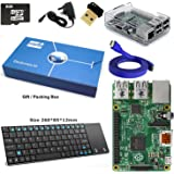 Maker-Sphere Raspberry Pi 3 Model B Quad Core Complete Starter Kit with Mini Wireless Keyboard and WiFi Adapter (Raspberry Pi B Plus + WiFi Dongle + 8GB SD Card + Clear Clear Case + Power Supply + HDMI Cable)(Clear)