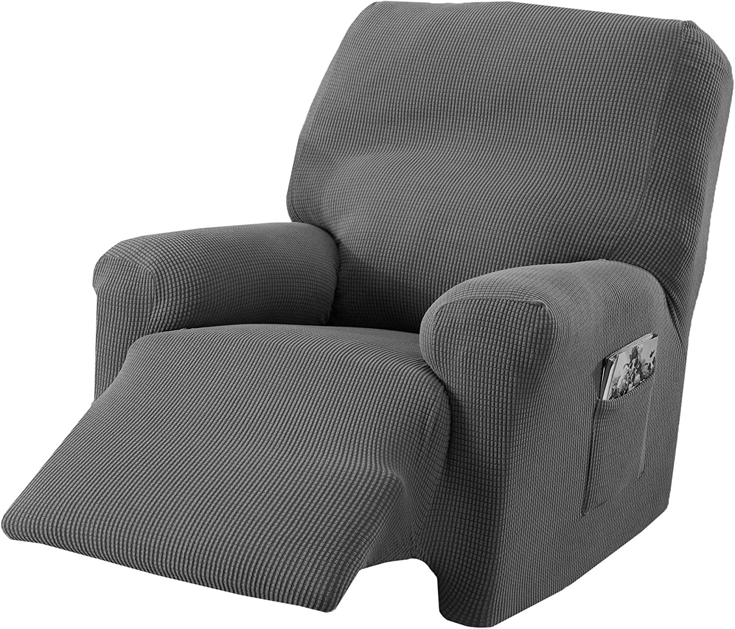 Popcorn Textured Recliner Slipcover. Form Fit, Slip Resistant, Strapless Slipcover. Stretch Recliner Slipcover. Kova Collection (Recliner, Frost Gray)