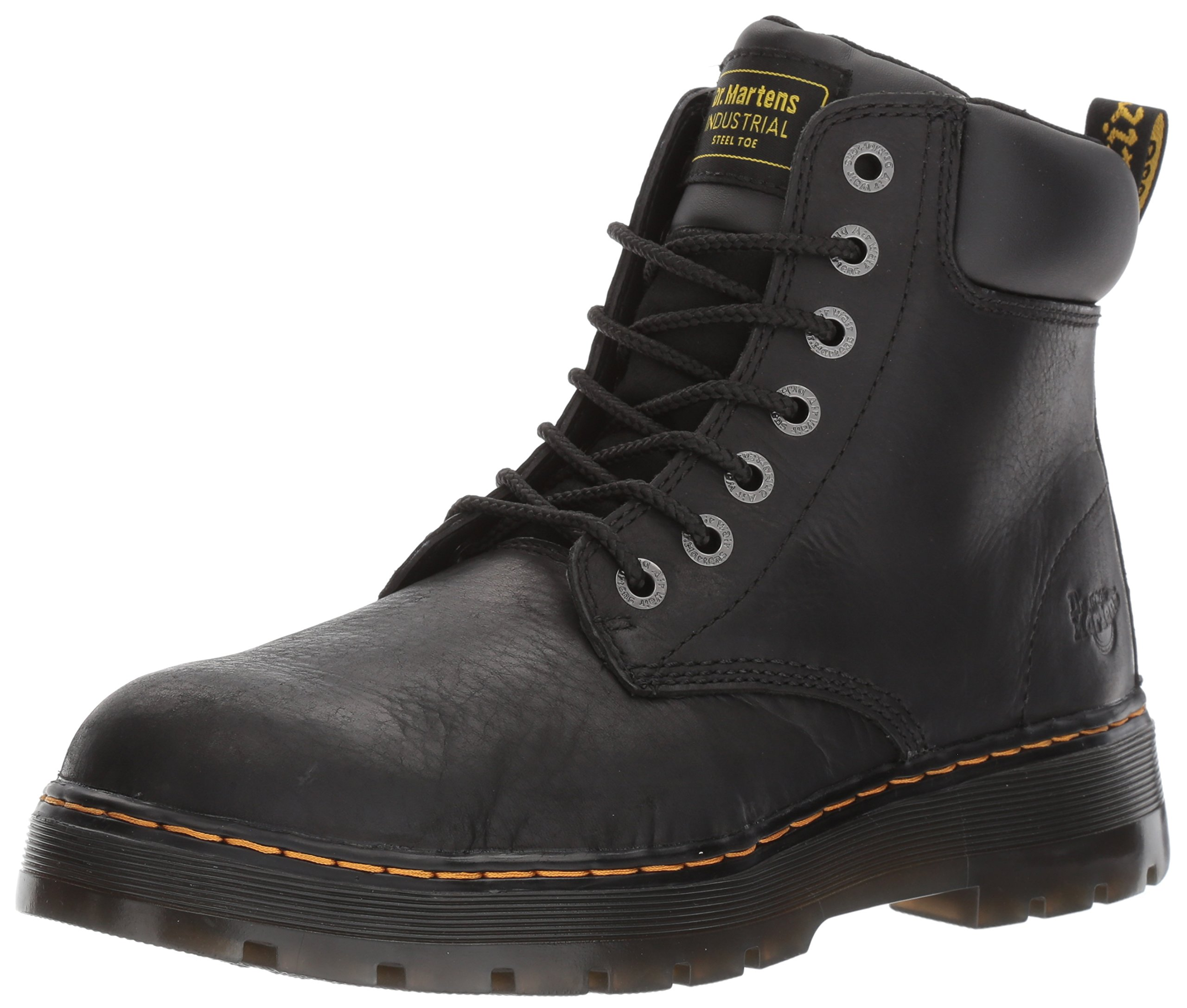Dr. Martens Men's Winch 7-eye Lace-up Steel-toe Black Boot, Medium / 10 F(M) UK / 11 D(M) US