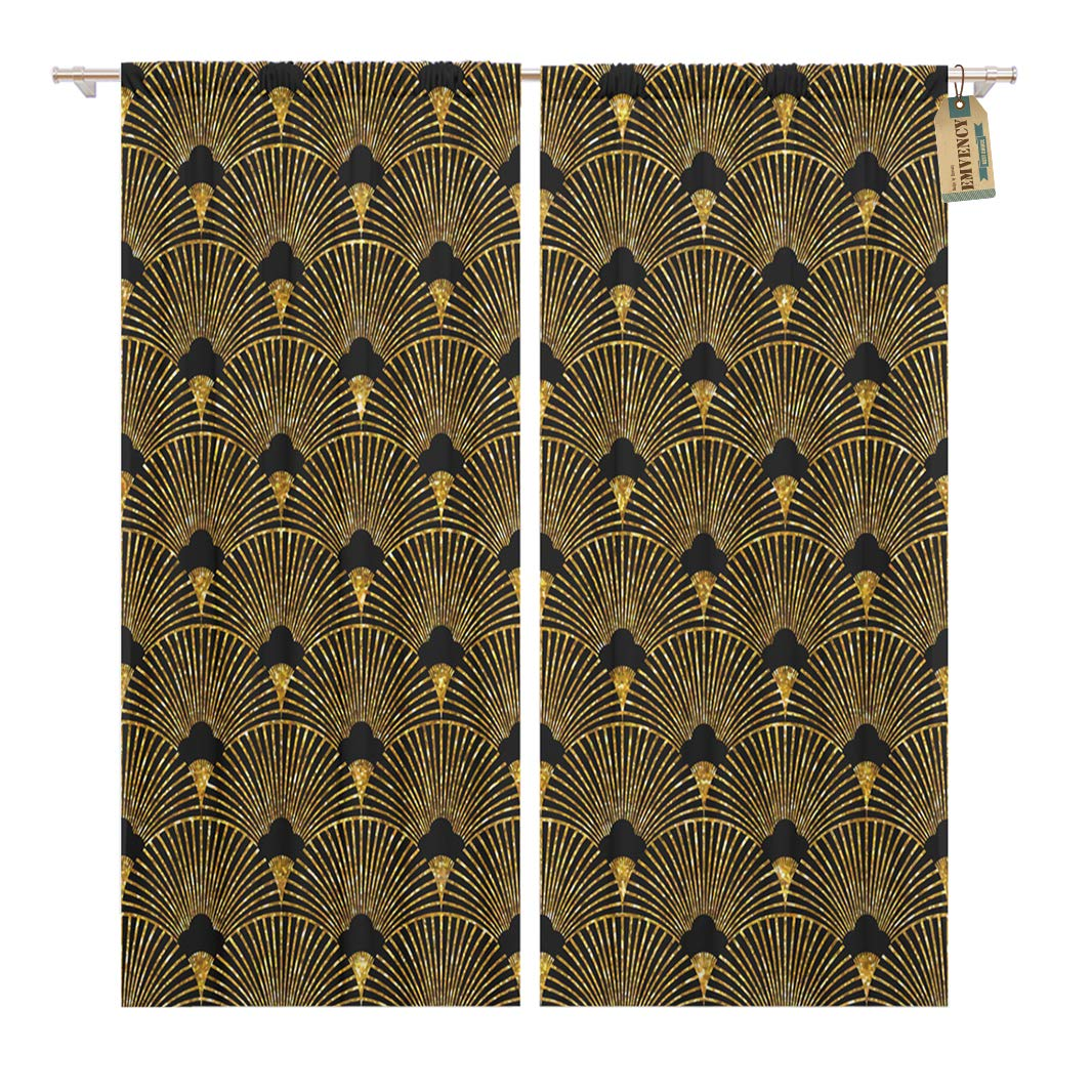 Golee Window Curtain Pattern of in Golden Gatsby Artdeco Abstract America Baroque Home Decor Rod Pocket Drapes 2 Panels Curtain 104 x 63 inches