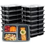 Ez Prepa [15 Pack] 32oz 3 Compartment Meal Prep Containers with Lids -Food Storage Containers BPA Free Plastic, Bento…