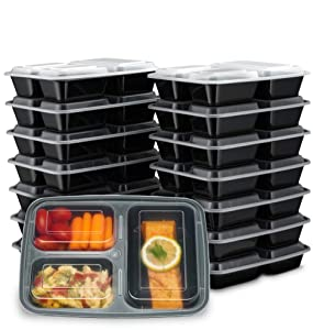 Ez Prepa [15 Pack] 32oz 3 Compartment Meal Prep Containers with Lids - Food Storage Containers BPA Free Plastic, Bento Box, Lunch Containers, Microwavable, Freezer and Dishwasher Safe, Food Containers