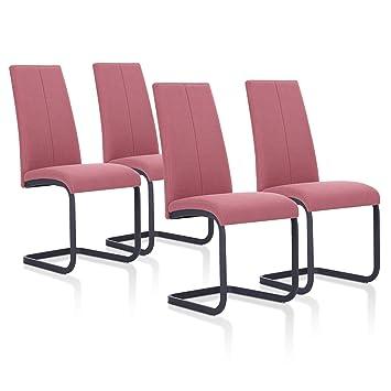 SuenosZzz - Pack sillas (x4) Ceres Color Coral, para Comedor o Salon| Tapizado en Tela | Sillas de Patas metalicas Color Negro | Conjunto de sillas ...
