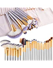VANDER Makeup Brushes,24pcs Makeup Brush Set Champagne Face Cosmetic Brush Kit Foundation Blush Eyeshadow Liner Powder Blend Concealer Beauty Tools ,Cruelty-Free Synthetic Fiber Bristles,with Travel Makeup Bag