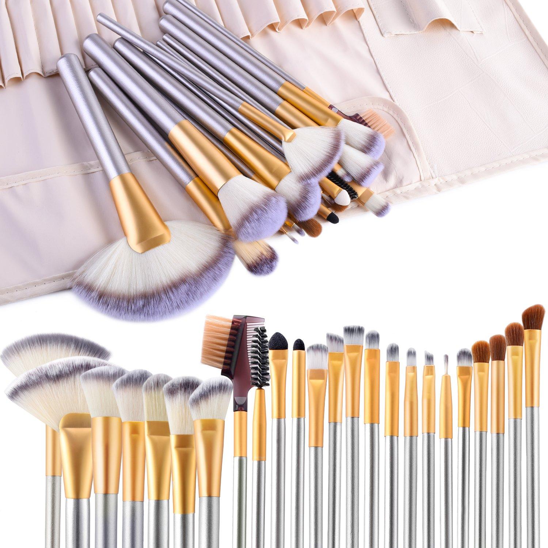 Makeup Brushes, VANDER 24pcs Makeup Brush Set Professional Make Up Brushes Powder Cream Liquid Foundation Eyeshadow Eyeliner Lip Concealer Beauty Brushes with Travel make up Bag, Champagne