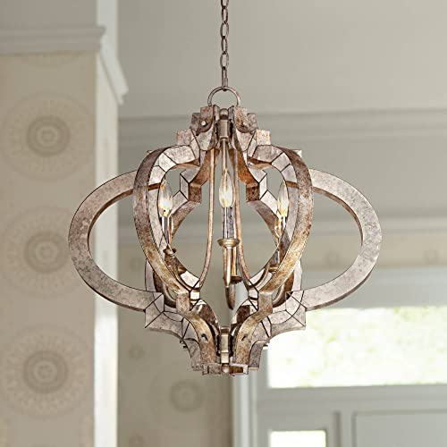Ornament Aged Silver Gold Bronze Chandelier 23 1 4 Wide Modern Open Look 6-Light Fixture for Dining Room House Foyer Kitchen Island Entryway Bedroom Living Room – Possini Euro Design