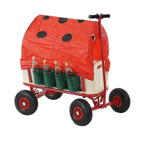 Carrito de madera carretilla carro Oliveira incluye asiento, freno, soporte para botellas, techo
